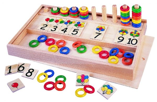Balloons and Rings wooden numeracy games