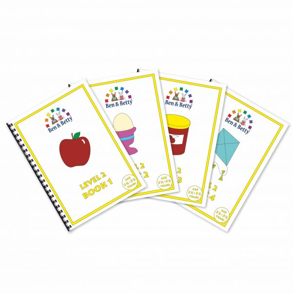 The four books in Ben & Betty Level 2 Pack 1
